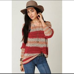 Free People Desert Moon open knit pullover L #